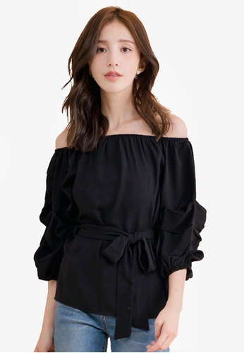YOCO black Off Shoulder Puff Sleeve Tie-Front Top 4EFB3AAA38E331GS_1