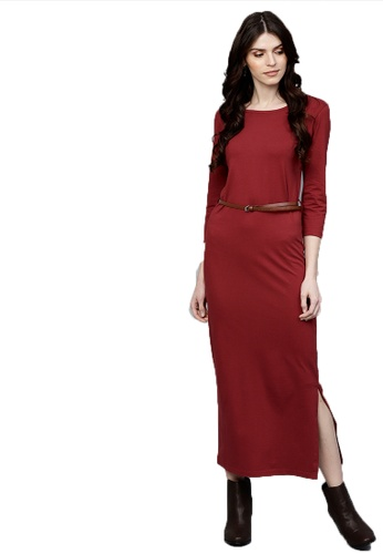 SASSAFRAS red Maroon Maxi Dress with Belt 59FF9AAC4BF31BGS_1