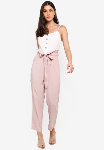 ZALORA white and pink Paperbag Jumpsuit ECD6DAABC77B2EGS_1