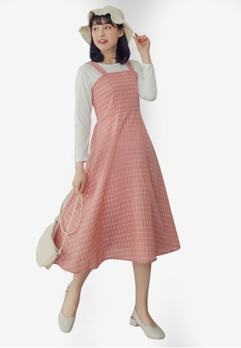 Eyescream pink Check Shirred Pinafore Dress D55A3AAE65C690GS_1