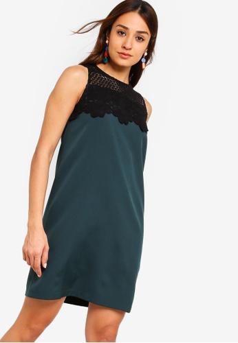 ZALORA green Lace Colour Blocking Shift Dress 143E1AAE4BCCECGS_1