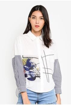 c8ce1236980305 Kitschen white Long Sleeve Printed Shirt 8472BAA2F6D7F0GS 1