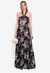ZALORA multi Bridesmaid Printed Halter Neck Maxi Dress 2B507AA4574DD2GS_1