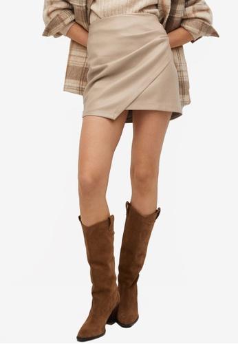 Mango grey Leather Effect Mini Skirt 9DF35AAAFD9788GS_1