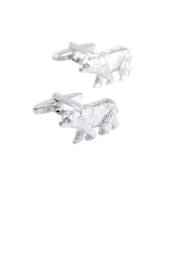 Glamorousky silver Fashion Cute Polar Bear Cufflinks 7D3A2AC845DF52GS_1