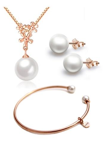 YOUNIQ gold YOUNIQ Pearl Drop 14K  Plated Silver Necklace Pendant Earrings & Bracelet Set (Rosegold) YO999AC42NPPMY_1