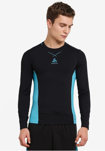 Odlo black Crew Neck Ceramicool Pro Long Sleeve Shirt OD608AA0S11DMY_1
