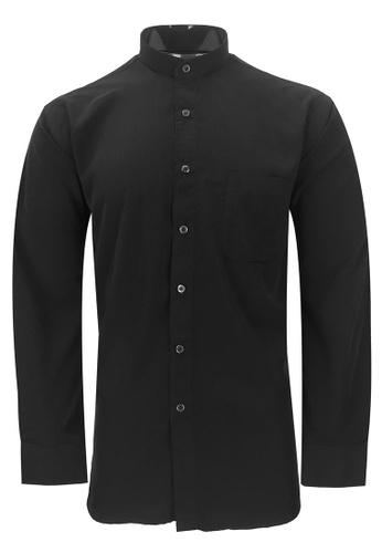 Pacolino black Pacolino - Mandarin Collar Striped Formal Casual Long Sleeve Men Shirt 4A4F4AA0C7B01BGS_1