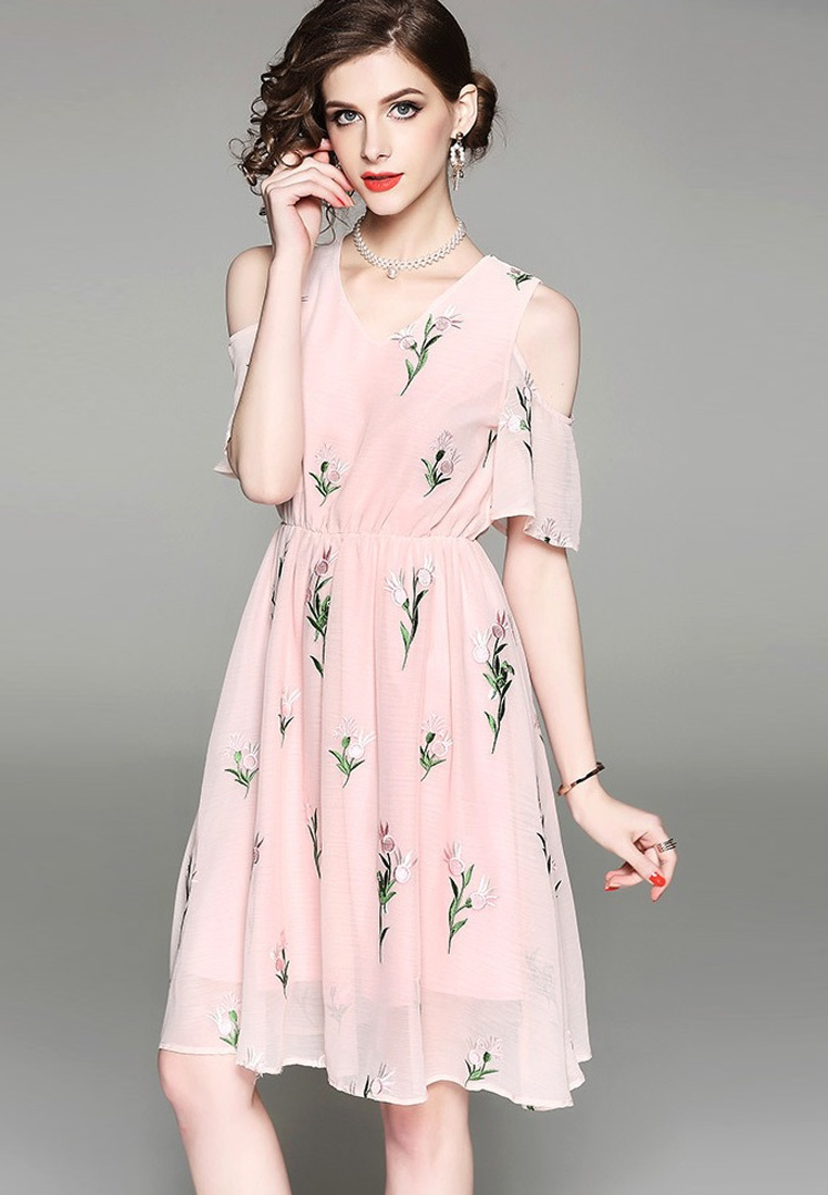 2018 Shoulder Dress A041131 Pink One Out Piece Sunnydaysweety Cut New Pink Floral 4nw64rq