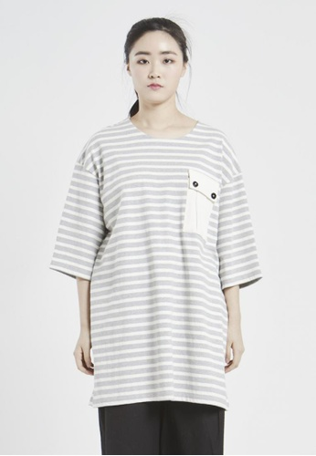 NINETEENEIGHTY grey and white Over Fit Round Neck Pocket T-shirt NI195AA05XCKSG_1