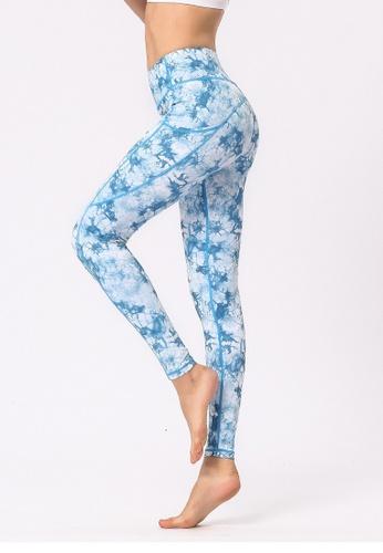 B-Code blue ZYG3031a-Lady Quick Drying Running Fitness Yoga Sports Leggings -Blue 7DDA1AA3ACAAB3GS_1