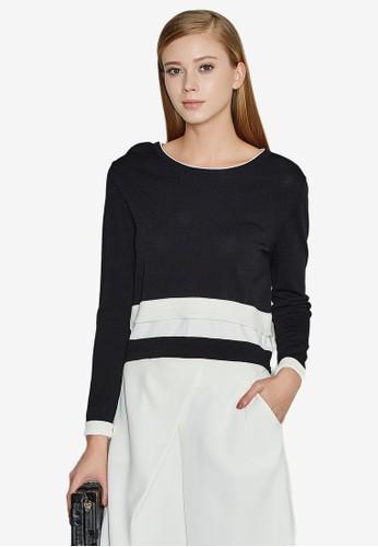 Hopeshow black Long Sleeve Knit Top 2379EAA7C0B9CCGS_1