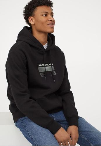 H&M black and multi Text-Print Hoodie 756FBAA566FF0DGS_1