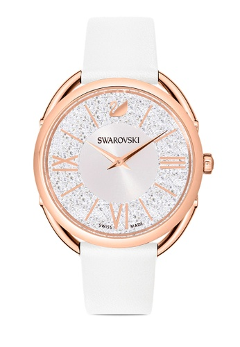 SWAROVSKI white Crystalline Glam Leather Strap Watch E4F84ACE669F73GS_1