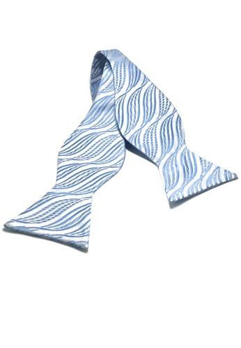 Splice Cufflinks Manual Series Baby Blue Wave Design Self-tied Man Made Silk Bow Tie SP744AC12KZZSG_1