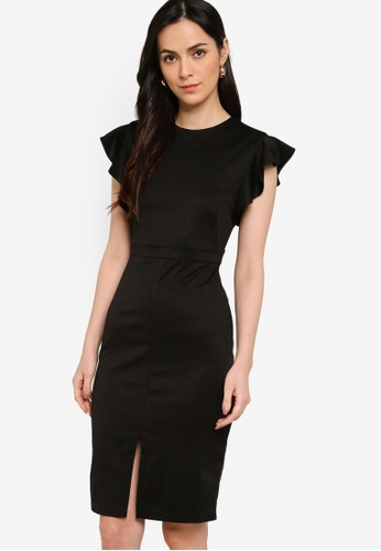 ZALORA WORK 黑色 Frill Sleeves Sheath Dress D016DAAF25C6B4GS_1