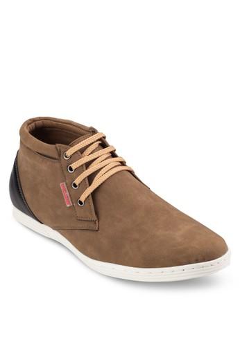 四眼繫帶仿皮低筒靴, 鞋,zalora taiwan 時尚購物網 靴子