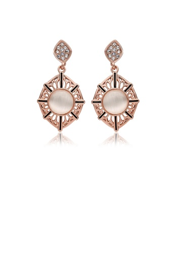 Glamorousky pink Retro Fashion Hollow Out  Rose Gold Plated Cats Eye (Non-Natural) Earrings 6A144AC78AB450GS_1