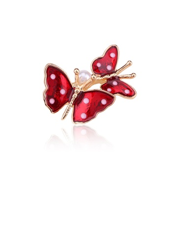 Glamorousky white Fashion Temperament Plated Gold Double Red Butterfly Brooch with Imitation Pearls EEDE6ACDC64741GS_1