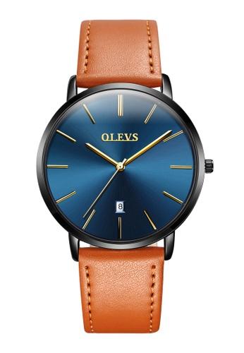 OLEVS multi Olevs Ultra Light Men Calendar Leather Quartz Watch CF059ACF4EEA2AGS_1