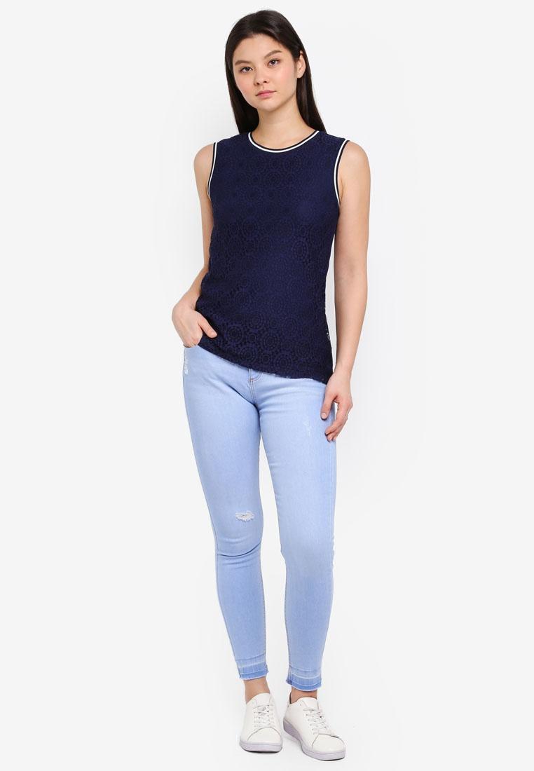 Grazer Dorothy Darcy Blue Hem Ice Perkins Metallic Jeans Ankle rTSqYTAMwx