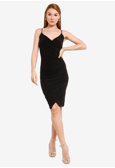 f8a9f53ad62 MISSGUIDED Strappy Slinky Wrap Midi Dress S$ 46.90. Sizes 6 8 10 12 14