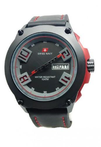 Swiss Navy Jam Tangan Pria Hitam Merah Leather Strap SN 5852