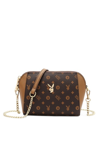 PLAYBOY BUNNY brown Compact Faux Leather Sling Bag FA0AFACBA2EC3EGS_1