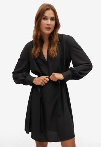 Mango black Belt Shirt Dress E39FDAA36E0355GS_1