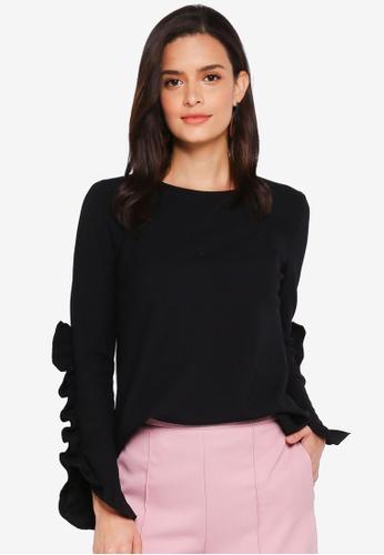 Lubna black Rib Knit Ruffles Sleeves Top 194D4AA19932B4GS_1