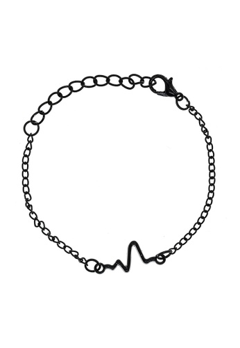 Elfi black Elfi Stainless Steel Heartbeat Adjustable Unisex Fashion Bracelet FBF26AC68AC57DGS_1