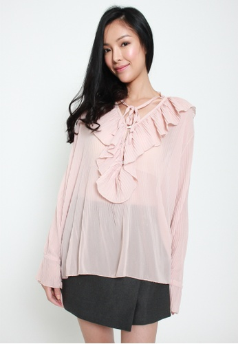 Sophialuv pink Frill of the Chase Loose Chiffon Top in Rose 084DAAAEB4D1F9GS_1