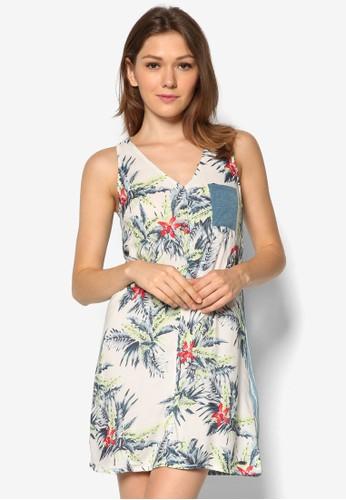 Strokes 拼接無袖zalora 包包評價連身裙, 服飾, 夏日洋裝