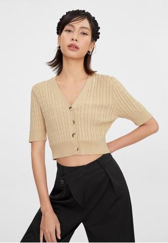Pomelo beige Knitted Button Up Crop Top - Beige 16BD3AA5B0B726GS_1