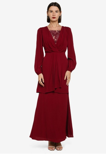 Zalia 紅色 Wrap Drape Long Kurung 31163AA19C7680GS_1