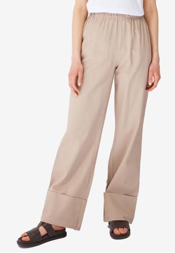 Trendyol beige Folded High Waist Pants 24A9DAA2B2C22EGS_1