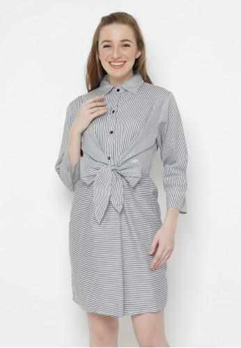 MINEOLA white Mineola Stripe Front Tie Dress 62249AA09DA02CGS_1