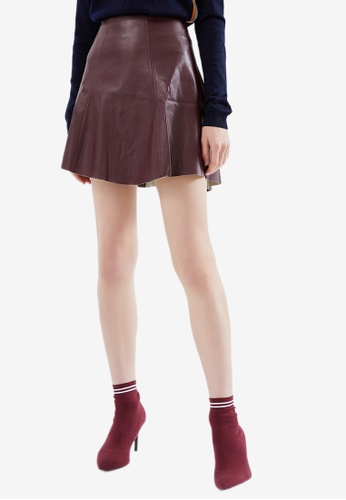 Hopeshow red PU Leather Flare Mini Skirt 81D93AAE181249GS_1