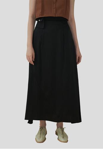 We Enjoy Simplicity black Rene Satin Long Skirt w/ Pouch (Black) 2C18DAAE9B4D59GS_1