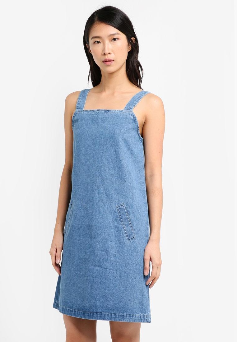 Light Super Pinafore Dress Blue ZALORA S1qPHt