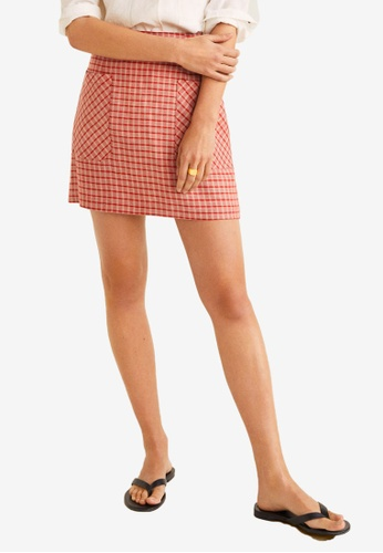Mango red Checkered Mini Skirt 14612AA7A8AB90GS_1
