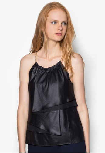 Ozalora 台灣門市tag 鏈飾肩帶層次上衣, 服飾, 服飾