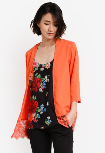 Dorothy Perkins orange Lace Hem Cover Up Jacket DO816AA18UVTMY_1
