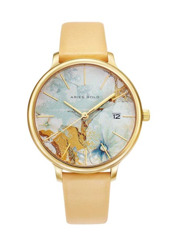 Aries Gold yellow Aries Gold Enchant Fleur L 5035 Gold and Yellow Watch 61379ACA5A79D3GS_1