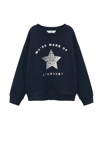 MANGO KIDS blue Printed Organic Cotton Sweatshirt 3B5B5KAB9E7D5BGS_1