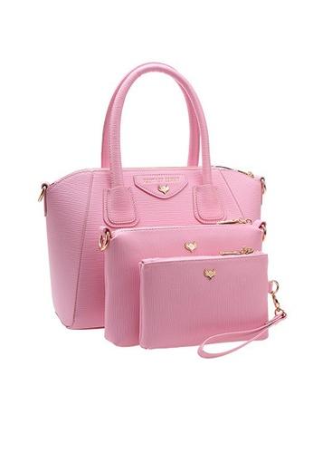 LULUGIFT pink Juicy Pink Europe Brand PU Leather Shell 3in1 Bag LU989AC92UZFMY_1