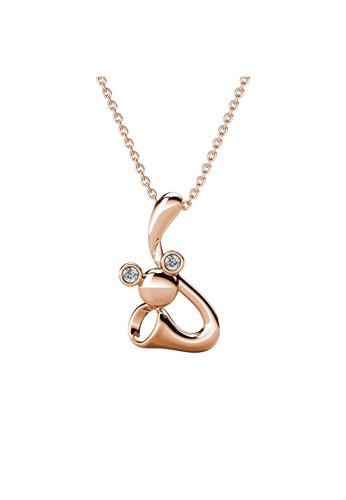 Her Jewellery gold Trumpet Mice Pendant (Rose Gold) - Made with Premium grade crystals from Austria FB5E6AC3B8D327GS_1