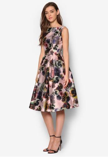 Marinaesprit outlet 台灣 挖背印花無袖洋裝, 服飾, 洋裝