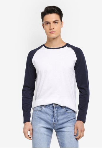Factorie white and navy Long Sleeve Raglan Tee 300C3AAEC35A8EGS_1