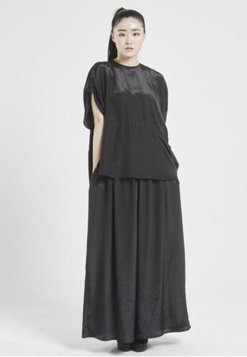 NINETEENEIGHTY black Round Neck Unique Sleeve Shirt NI195AA24XBRSG_1